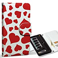 スマコレ ploom TECH プルームテック 専用 レザーケース 手帳型 タバコ ケース カバー 合皮 ケース カバー 収納 プルームケース デザイン 革 チェック・ボーダー ハート 赤 白 005078