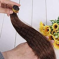 FidgetGear 100 / 200SケラチンスティックI Remy人毛エクステンション16-24インチフルヘッド #04ミディアムブラウン