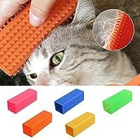 Dkhsyペットブラシペットマッサージヘアブラシ犬猫はきれいな櫛の粘着性の脱毛ソフトシリコンブラシケアツールを削除します
