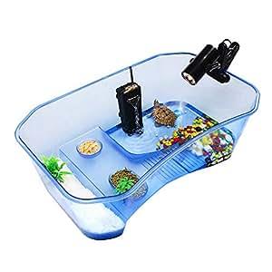 Fashionwu 爬虫類 カメ ボックス 水族館 タンク ランプ タートル 給餌 ボックス テラピン フード ボウル 亀水槽 カメの楽園 飼育ボックス