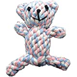 Zenify Puppy Toys Cotton Rope Bear Toy Chew - for Small to Medium Pet Teething Plush Dog Owners (Tri Colour)