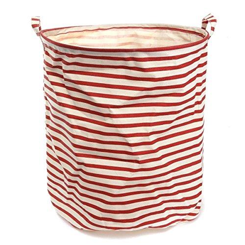NKTM ランドリーバスケット 綿麻製の洗濯物用かご 折り畳み式 しま模様