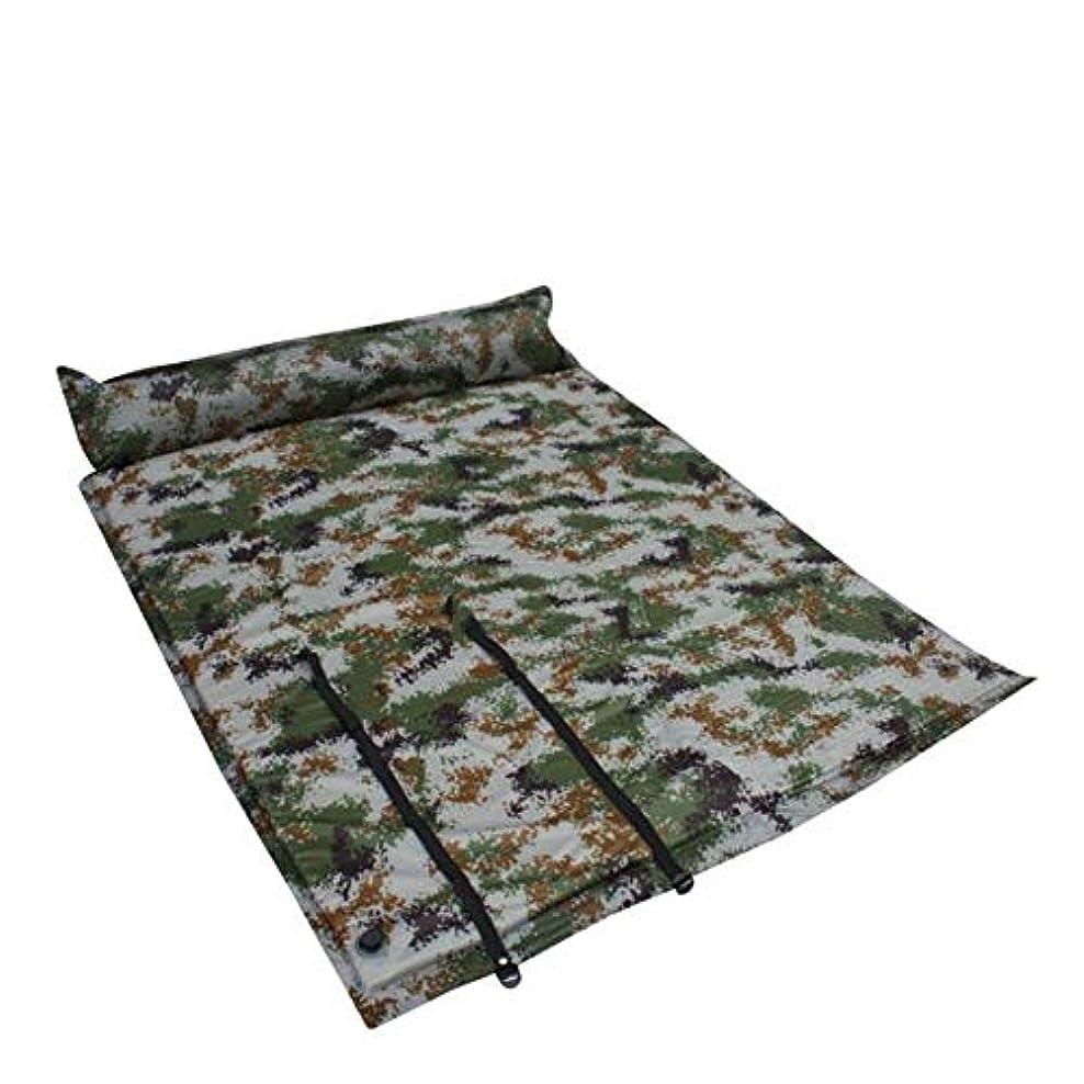 断言する宿であることキャンプ用エアベッド 枕付きインフレータブルキャンプスリーピングパッドからの防水性と軽量の2人用インフレータブル厚手のフォームエアマットレス ポータブルエアマットレス (色 : Camouflage, サイズ : 74.8*51.9*1.38in)