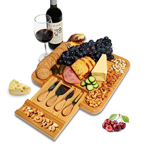竹製チーズボード カトラリーセット付き 木製 チャコテリー 大皿 まな板 食肉 野菜 果物 チーズ フードサービングトレイ 新築祝いギフト 母の日のギフトに最適