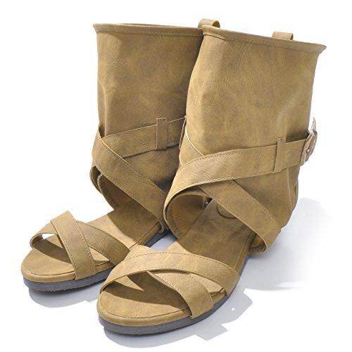 【ノーブランド品】ブーツサンダル オープントゥ レディース靴 ローヒール ブーティ フラットヒール グラディエーター 大きいサイズ 小さいサイズ ソフトレザー サマーシューズ e009