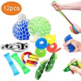 OKSANO Fidget Toys 12Pcs, Fidget Toys for Adults and Fidget Toys for Sensory Kids Autism Fiddle Toys for ADHD, Squeeze Mesh Balls, Flippy Chain, Stretchy Strings, Soybean Stress Toys, Tangle Toys