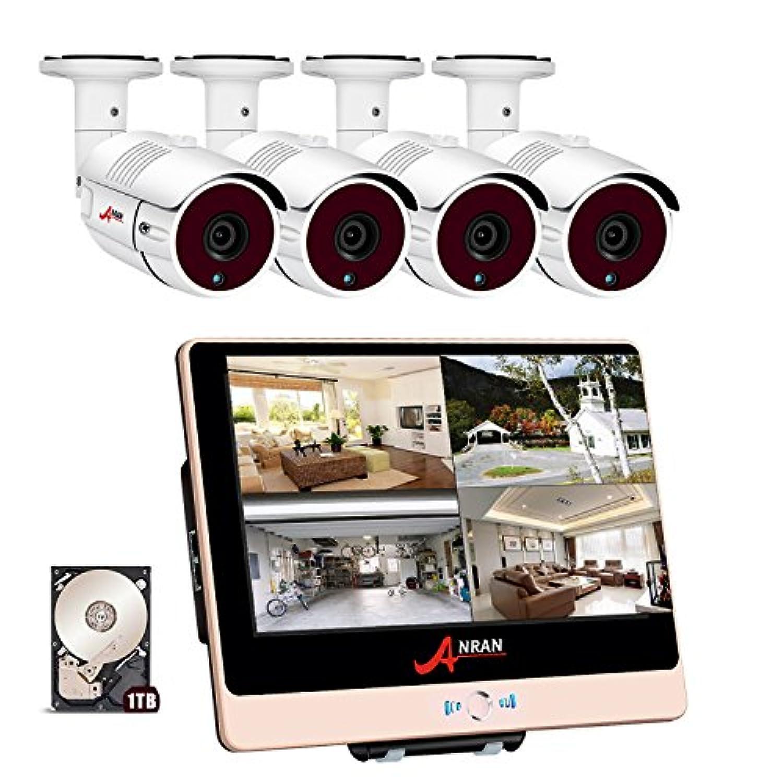 防犯カメラ POE給電 200万画素 モニター付き 4台 セット ANRAN POE給電カメラ  12インチモニター (8チャンネル 増設可能) ネットワークカメラ 暗視撮影 cctv セキュリティカメラシステム 監視カメラ ナイトビジョン 防水カメラ 動体検知録画 ハイビョン HD 監視カメラ 屋内/屋外 遠隔監視対応 (1TB HDD 付き) 国内日本人スタッフ駐在 3年保証