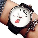 ブルガリ ZooooM おもしろ ウォッチ シンプル デザイン 文字盤 アナログ 腕 時計 ファッション アクセサリー ユニーク カジュアル メンズ レディース 男性 女性 (イチゴ:ホワイト) ZM-TABEMOJI-ITIWH