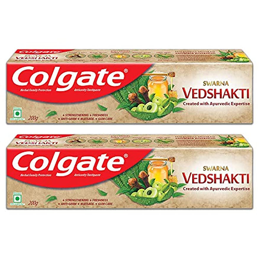 マティス愛情深い抵抗するColgate Swarna Vedshakti Toothpaste - 200gm (Pack of 2)