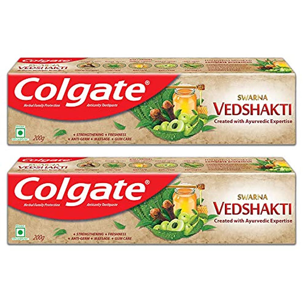 コンテンツギャザートロリーColgate Swarna Vedshakti Toothpaste - 200gm (Pack of 2)
