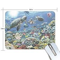 マウスパッド 美しい海の世界 亀 魚 ヒトデ ゲーミングマウスパッド 滑り止め 19 X 25 厚い 耐久性に優れ おしゃれ