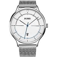 BUREI Unisex Quartz Slim Minimalist Designer Watches with Date Mineral Crystal Milanese Mesh Strap