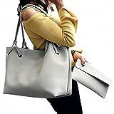 (ガラ-ボ) バッグ レザーバッグ かばん 鞄 2つセット 通勤 通学 就職活動 大人 きれいめ A4 入る 学生 (ライトグレー)