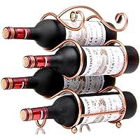 W29 ワインラック ホルダー 4本収納 ワイン シャンパン ボトル 収納 ケース スタンド インテリア ディスプレイ (ブロンズ)