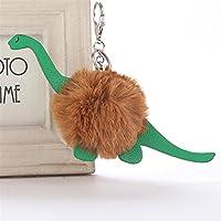 Dalino ファッションとパーソナリティ PUレザー 恐竜 プラッシュボール キーチェーン ペンダント プラッシュドール キーリング キーチェーン (コーヒー)