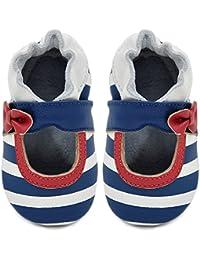 KiMi + Kai Infant/Toddler Striped Mary Jane Navy/Ivory Stripe Leather Shoes