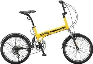 HUMMER(ハマー) 折りたたみ自転車  20インチ FDB206 シマノ6段変速 [Wサスペンション/前後フェンダー/Vブレーキ/ボトルゲージ/リフレクター標準装備] イエロー