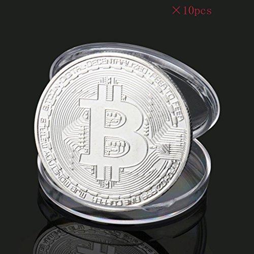 ビットコイン Bitcoin Collectible ギフト バーチャル レプリカ 仮想 通貨 コイン グッズ アートコレク メッキ ライトコイン 記念硬貨 コレクション 十枚入り (シルバー)