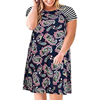 Nemidor Women's Floral Print Casual Sleeved A-line Loose Plus Size T-Shirt Dress with Pocket