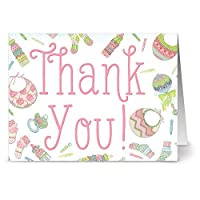 24 Note Cards - Baby Menagerie Thank You Pink - Blank Cards - Hot Pink Envelopes Included
