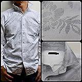 (ヴァンプス)VUMPS メンズ デザインシャツ フラワージャガード ストレッチシャツ 長袖 ホワイト