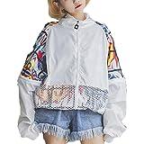 <ELEEJE>ウインドブレーカー 原宿系 ファッション レディース ストリート系 韓国 ナイロンジャケット 白 黒 大きいサイズ 韓国ファッション(なかむら堂オリジナル)