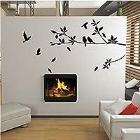 樱のホーム シンプルなツリーと鳥の壁のステッカーのアップリケ壁アートの壁の装飾(黒)