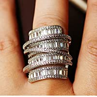 YaYI ジュエリープリンセスカット 15CT マルチジルコンシルバー充填婚約指輪ウエディングハート指輪バレンタイン日女の子リング 531