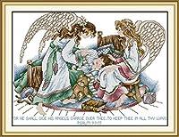 LovetheFamily クロスステッチキット DIY 手作り刺繍キット 正確な図柄印刷クロスステッチ 家庭刺繍装飾品 11CT ( インチ当たり11個の小さな格子)中程度の格子 刺しゅうキット フレームがない - 57×44 cm 甘い夢の天使
