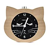 FiBiSonic 目覚まし時計 アナログ 大音量 置き時計 連続秒針 音無し アラーム スヌーズ 照明ライト付き 木製 電池式 小型 かわいい キャラクター 猫 S708(ナチュラル)
