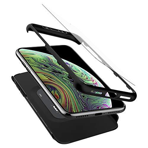 【Spigen】 iPhone XS ケース/iPhone X ケース 5.8インチ 対応 360度保護 レンズ保護 衝撃 吸収 シン・フィット360 057CS22177 (ブラック)