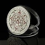 M0N0liTH 太陽の石 アステカの暦石 コイン 硬貨 メダル マヤ アステカ 文明 暦 ツォルキン カレンダー 神聖暦 儀式暦 (銀 シルバー 2)