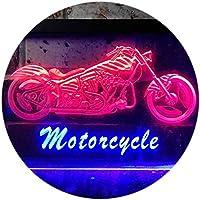 Motorcycles Shop Garage Man Cave Display Dual LED看板 ネオンプレート サイン 標識 Blue & Red 300 x 210 mm st6s32-i0642-br