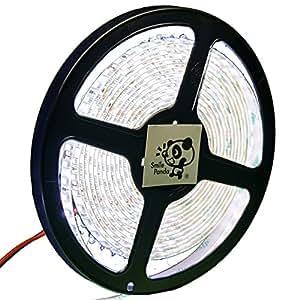 Smile Panda LEDプロ仕様 12V LEDテープライト 白 ホワイト 白ベース 600連 5m 正面発光 防水 IP65 0.5sq AWG20 両端リード線 切断可能 強力粘着両面テープ
