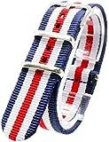 [2PiS] ( ダブルネイビー・ホワイト・センターレッド : 20mm ) NATO 腕時計ベルト ナイロン 替えバンド ストラップ 交換マニュアル付 30-1-20