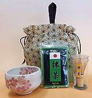 ミニ抹茶セット (仕立て抹茶3杯分 ミニ抹茶茶碗 茶せん)【ベージュ】