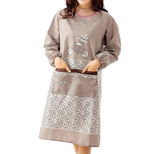 Pinji かっぽう着 かっぽうぎ 割烹着 保育士 料理エプロン ワンピース おしゃれ かわいい ガーデニング チェック ギフト プレゼント (コーヒ)