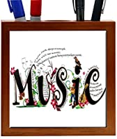 Rikki Knight 5-Inch Magical Musical Words Design Wooden Tile Pen Holder (RK-PH1032) [並行輸入品]
