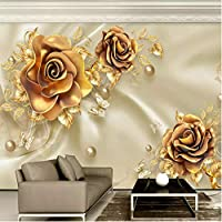 Wuyyii ヨーロッパスタイル3D高級花壁画壁紙ゴールドジュエリーシルク壁紙リビングルームテレビ背景壁画3Dフレスコ画-200X140Cm