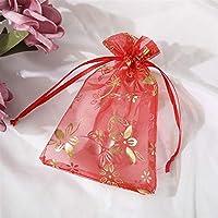 100のギフトバッグ - 透明モノクロ真珠のメッシュバッグ、ロープの開口部を描画、結婚式のキャンディーバッグ/化粧バッグ/クリスマスギフトバッグ、ブロンズバウヒニア 最適なバッグ (Color : Red, Size : 16x22cm)