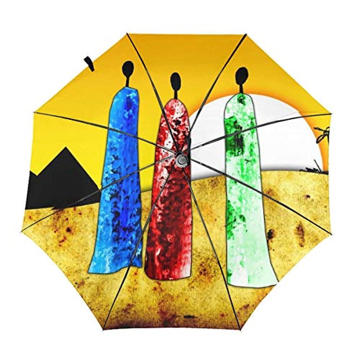 ログ手配する緩やかな大きな太陽に直面しているアフリカの人々 折りたたみ傘 日傘 ワンタッチ自動開閉 折り畳み 丈夫な8本骨 3段式 撥水 耐風 晴雨兼用 梅雨対策 UVカット 遮光遮熱 傘袋/収納ポーチ付き