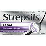 Strepsils Extra Throat Lozenges Blackcurrent Pain Relief with Anaesthetic (Count of 24)
