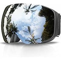 スキーゴーグル,Findway スノーボード スノーゴーグル 2018アップグレード マグネチック式 交換可 ダブルレンズ フレームレス くもり止め メガネ対応 100%UVカット 紫外線防止 防風防塵 アンチスクラッチ メンズ レディース ジュニア用 スポーツ用ゴーグル
