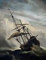 手描き-キャンバスの油絵 - ShipDet marine Willem van de Velde the Younger 船 シービューペインティング RSSP2 芸術 作品 洋画 -サイズ04