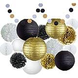 Happy New Year Party Decorations ブラック ホワイト ゴールド ティッシュペーパー ポンポン ペーパーランタン ペーパー ハニカムボール 水玉 ドット ガーランド 素晴らしい装飾/新年記念パーティー/誕生日装飾/シャワー