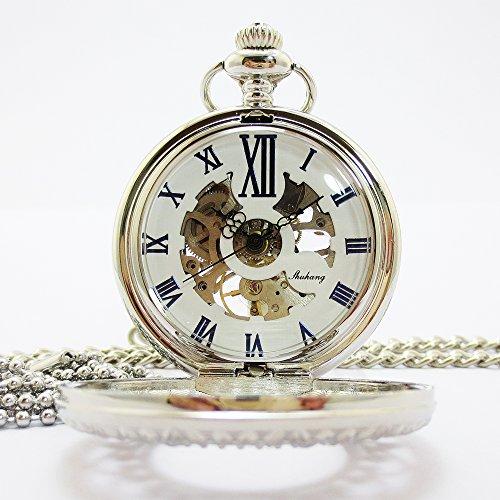 『手巻き式 懐中時計 フックチェーン + ボールチェーン/ 革紐 + 化粧箱 セット (シルバー)』の1枚目の画像