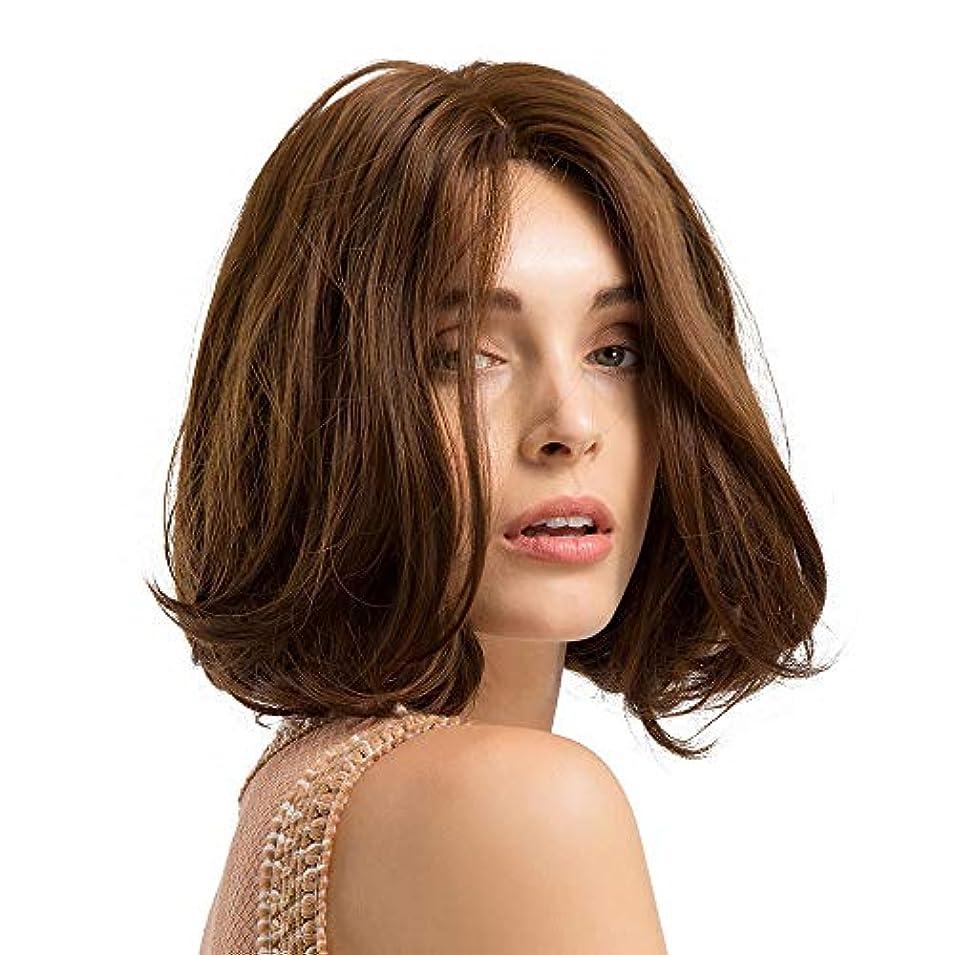 短い巻き毛のかつらマイクロボリュームかつら茶色のふわふわフルウィッグ10インチ