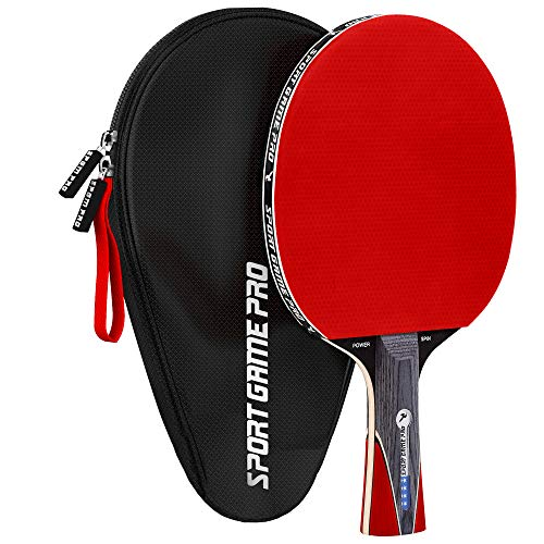Sport Game Pro Ping Pong Paddle with Killer Spin - Table Tennis Paddle with Comfort Grip 2.0 mm Spunge - Table Tennis Racket Bat with Gift Box (Red)