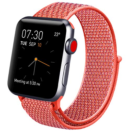 Vancle コンパチブル Apple Watch バンド 38mm 40mm 42mm 44mm ナイロンスポーツループバンド iWatch Series4/3/2/1に対応 (38mm/40mm, アプリコット桃)