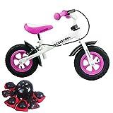 [1年保証] スクートリア SCOOTRIA ブレーキ付き バランスバイク ヘルメット・プロテクターセット ペダルなし自転車 キッズバイク ランニングバイク (ピンク)
